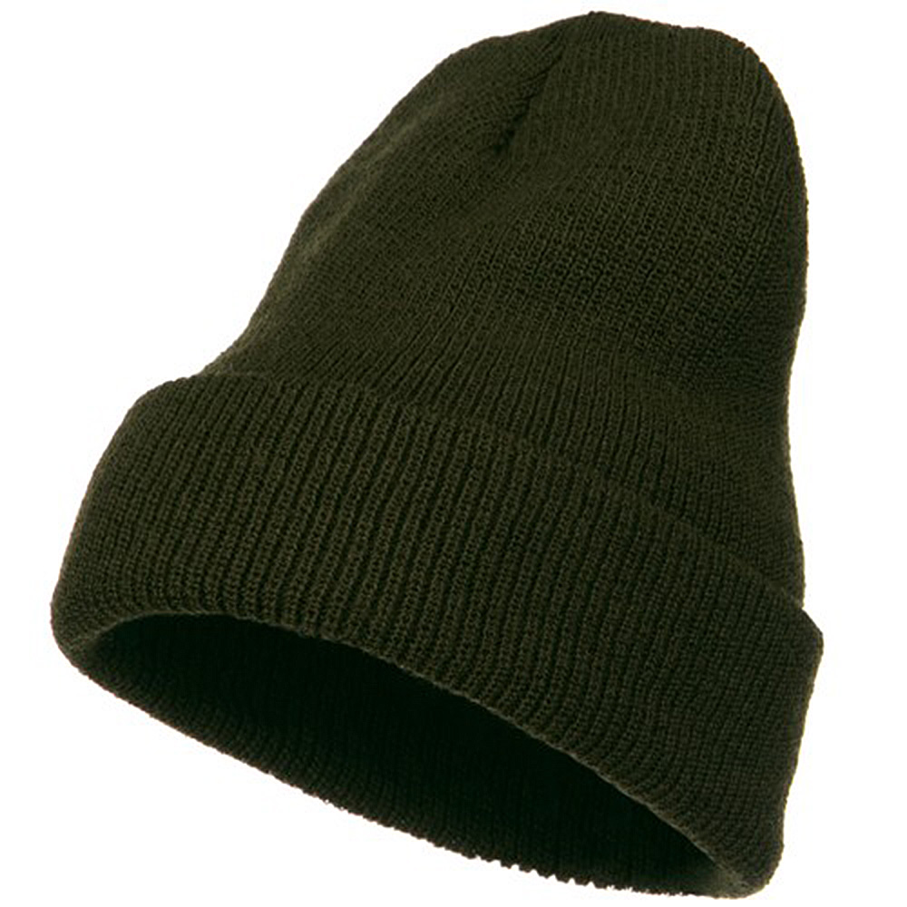 Big Stretch Heavy Wool Military Cuff Beanie - Olive - Hats and Caps Online Shop - Hip Head Gear
