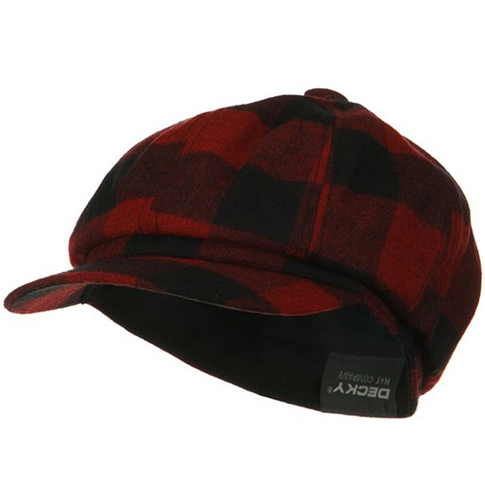 Acrylic Winter Newsboy Hat - Red Plaid - Hats and Caps Online Shop - Hip Head Gear