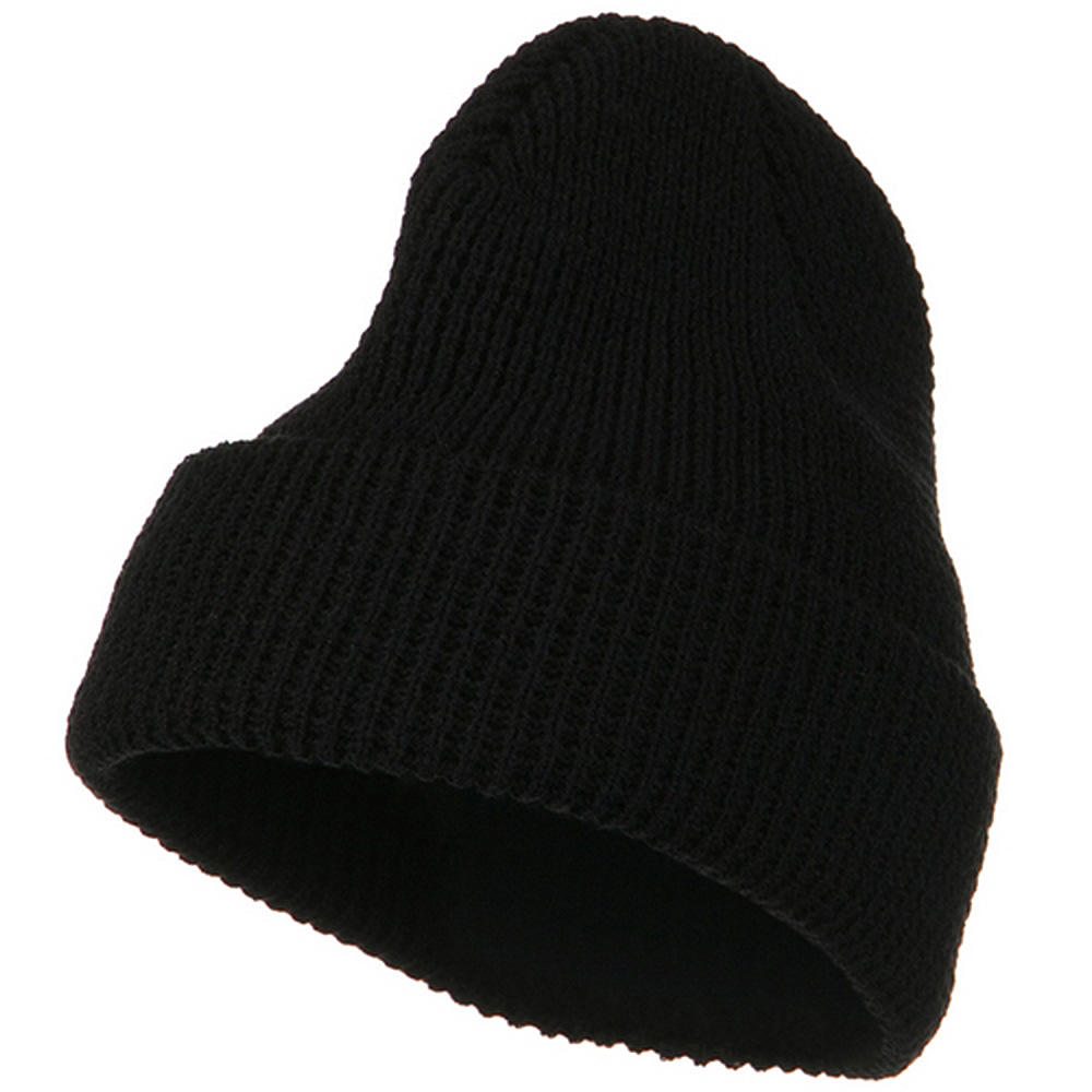 Big Stretch Waffle Stitch Cuff Beanie - Black - Hats and Caps Online Shop - Hip Head Gear