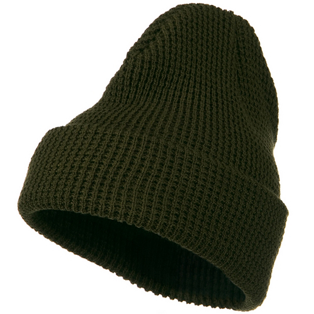 Big Stretch Waffle Stitch Cuff Beanie - Olive - Hats and Caps Online Shop - Hip Head Gear