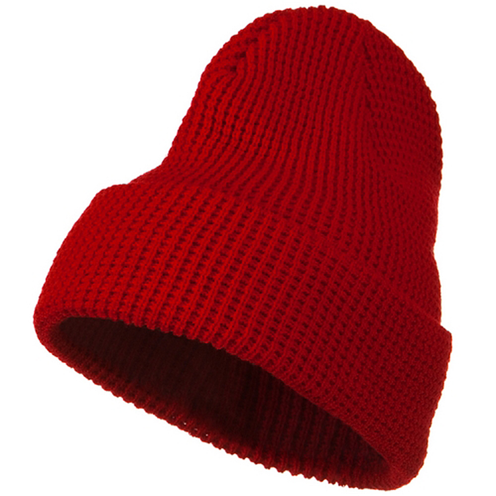 Big Stretch Waffle Stitch Cuff Beanie - Red - Hats and Caps Online Shop - Hip Head Gear
