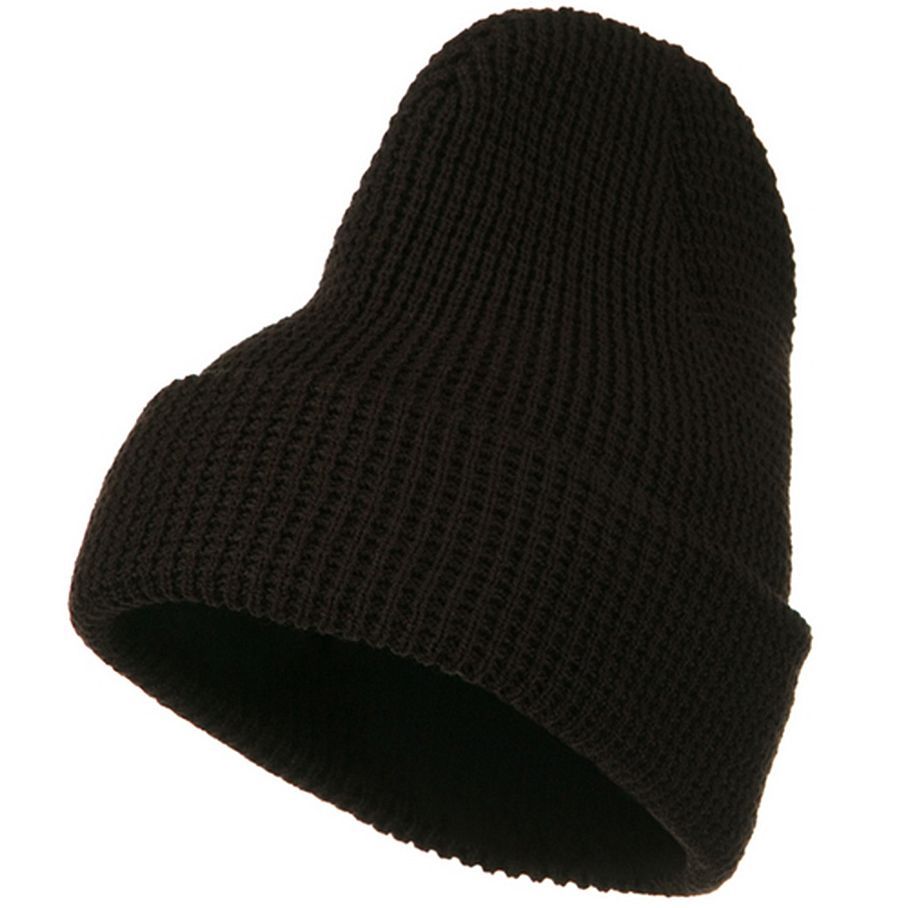 Big Stretch Waffle Stitch Cuff Beanie - Brown - Hats and Caps Online Shop - Hip Head Gear