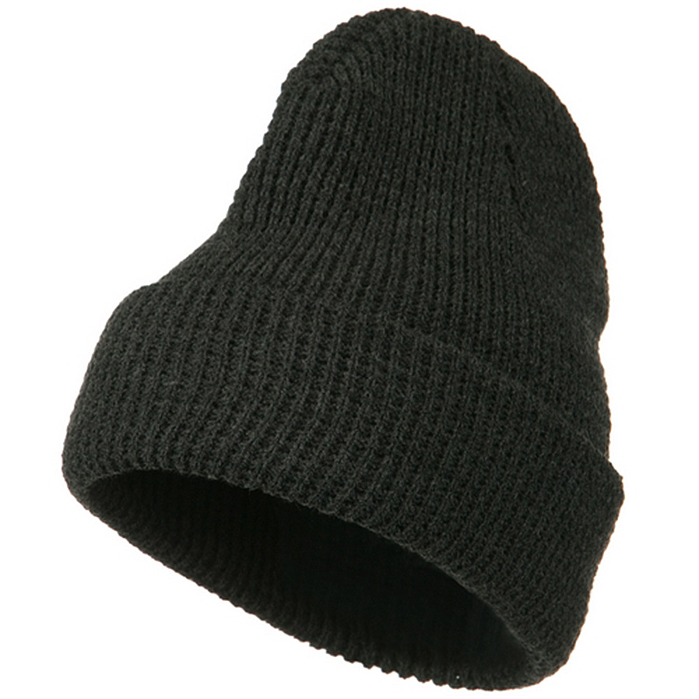 Big Stretch Waffle Stitch Cuff Beanie - Charcoal - Hats and Caps Online Shop - Hip Head Gear