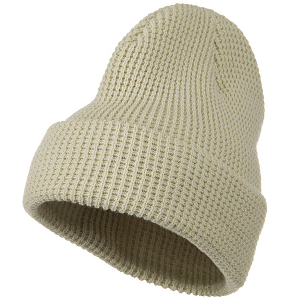 Big Stretch Waffle Stitch Cuff Beanie - Beige - Hats and Caps Online Shop - Hip Head Gear
