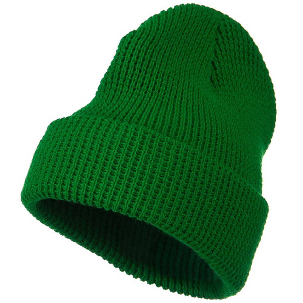 Big Stretch Waffle Stitch Cuff Beanie - Kelly - Hats and Caps Online Shop - Hip Head Gear