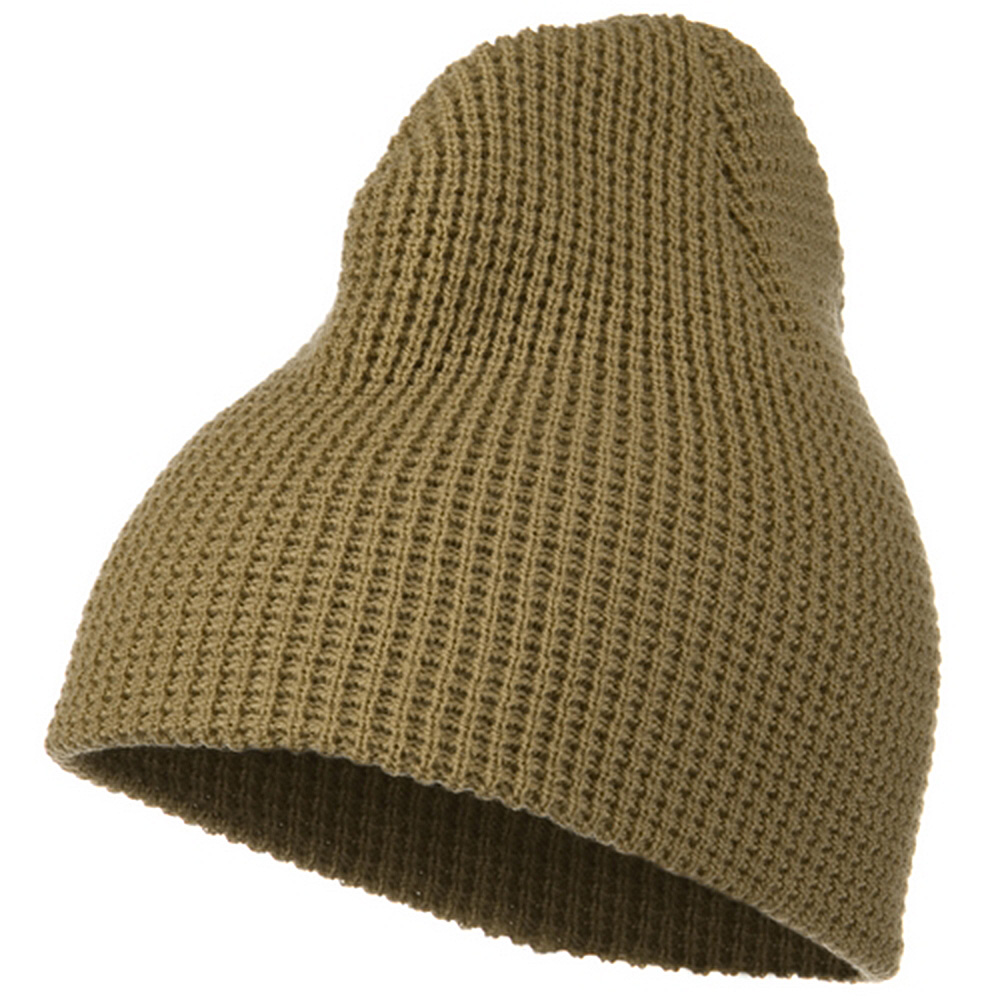 Big Stretch Waffle Stitch Short Beanie - Sand Khaki - Hats and Caps Online Shop - Hip Head Gear