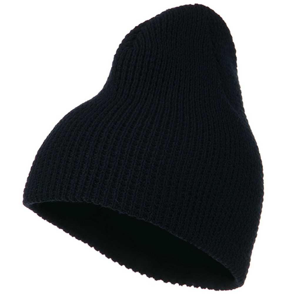 Big Stretch Waffle Stitch Short Beanie - Navy