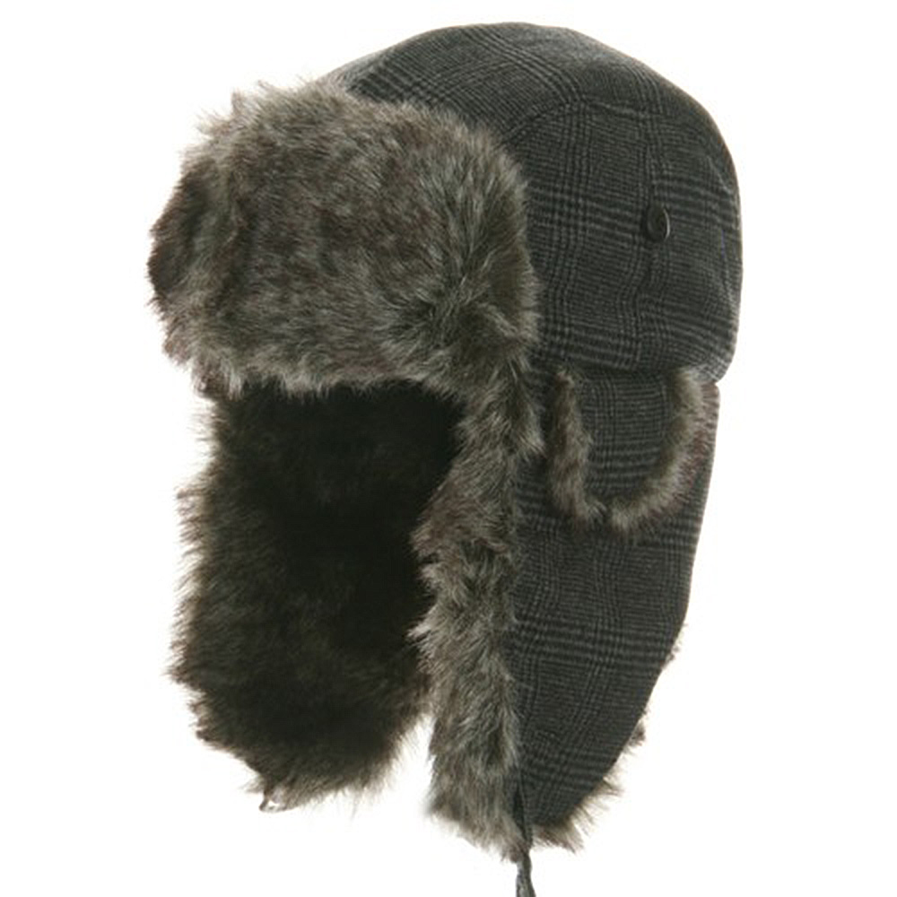 Wool Plaid Faux Fur Trooper Hat - Lt. Grey - Hats and Caps Online Shop - Hip Head Gear