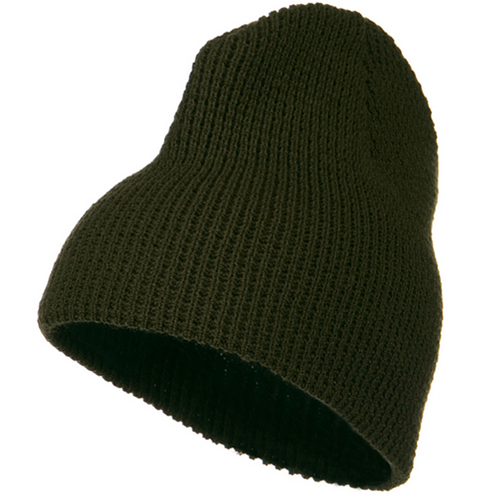Big Stretch Waffle Stitch Short Beanie - Olive - Hats and Caps Online Shop - Hip Head Gear