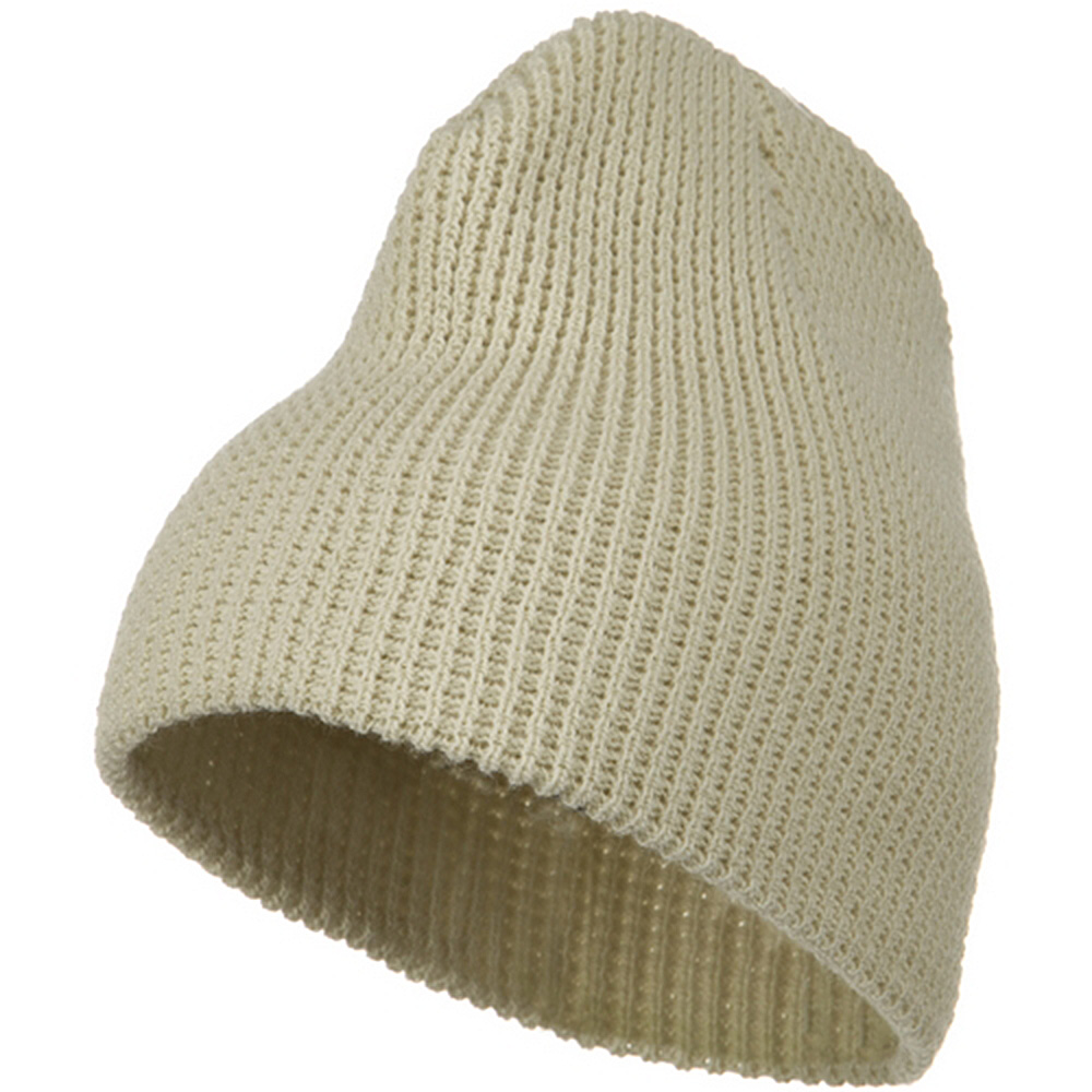 Big Stretch Waffle Stitch Short Beanie - Beige - Hats and Caps Online Shop - Hip Head Gear