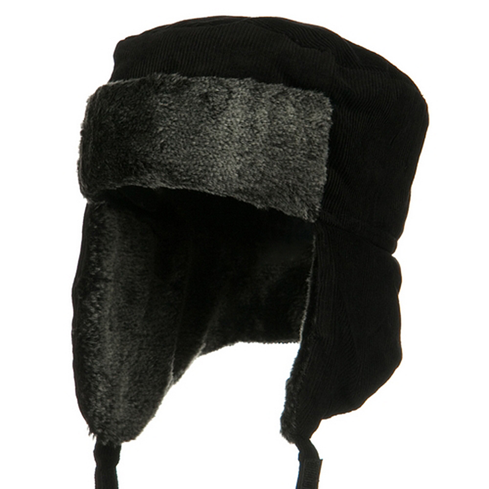 Corduroy Trooper Hat-Black - Hats and Caps Online Shop - Hip Head Gear