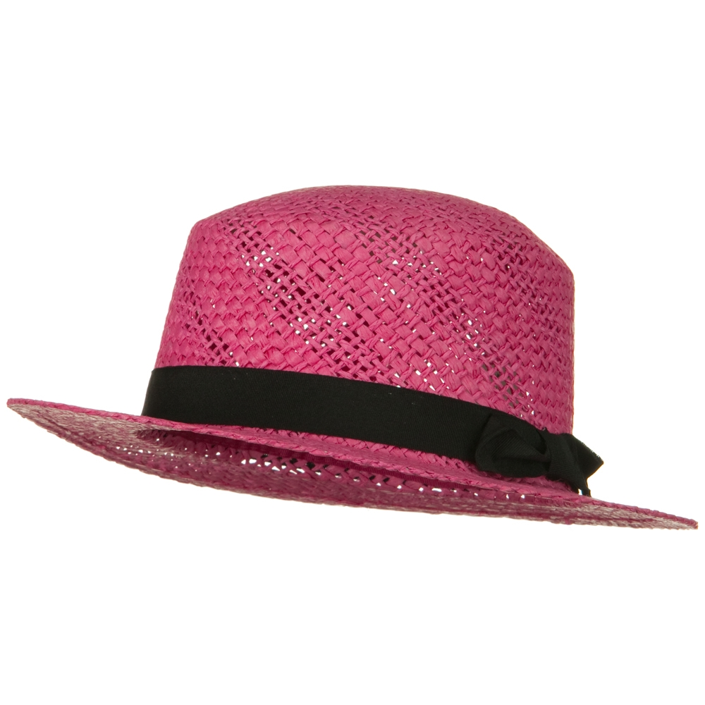Black Trim Med Straw Hat - Fuchsia - Hats and Caps Online Shop - Hip Head Gear