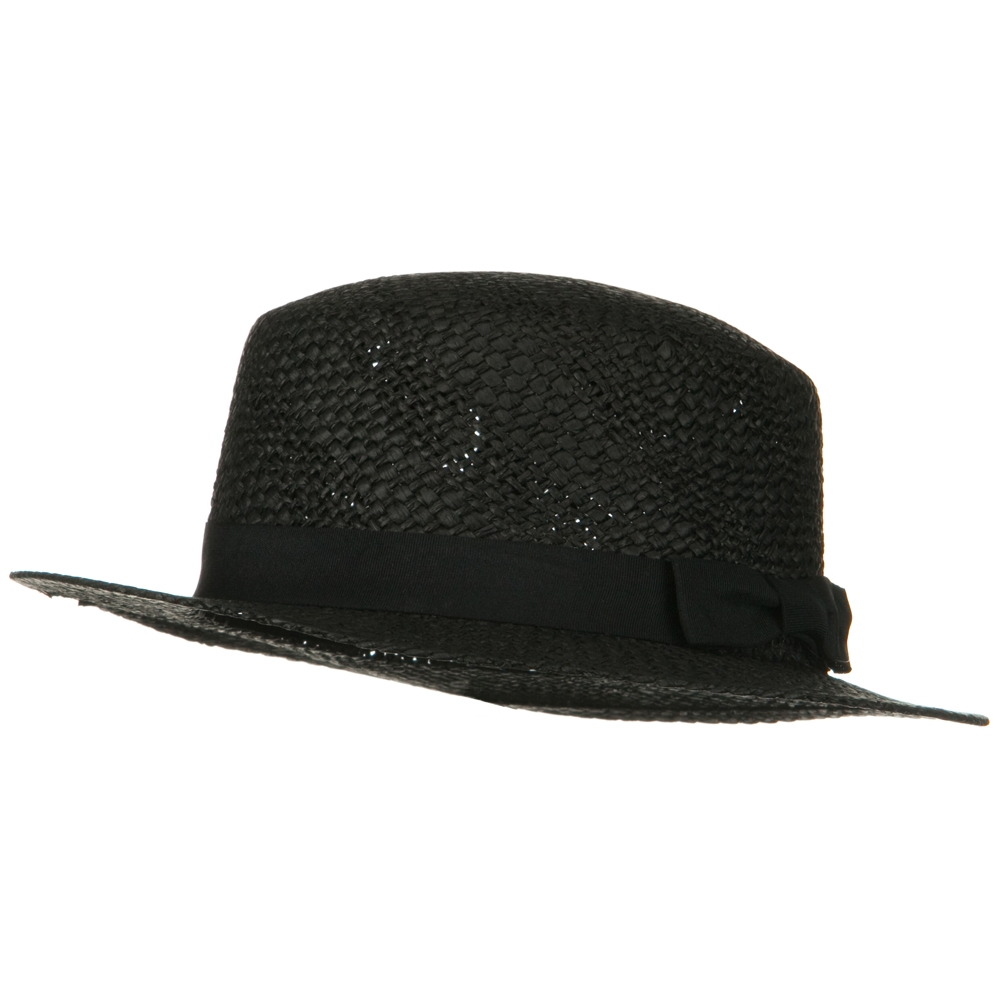 Black Trim Med Straw Hat - Black - Hats and Caps Online Shop - Hip Head Gear