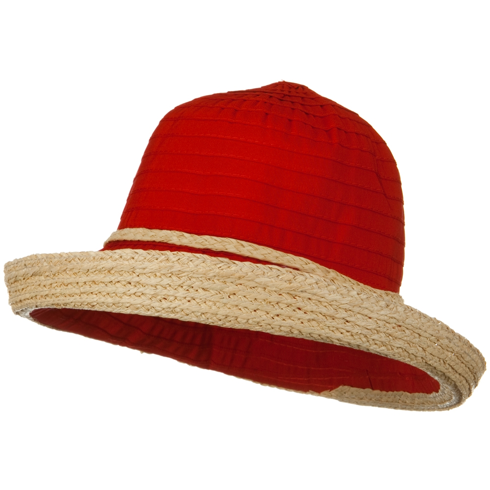 Tape Braid Raffia Straw Hat - Red - Hats and Caps Online Shop - Hip Head Gear