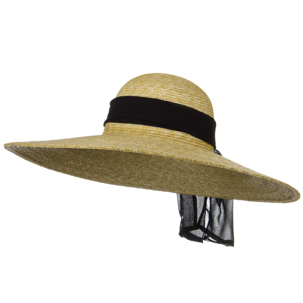 6 Inch Wide Brim ML Straw Hat 3 - Natural Black Band - Hats and Caps Online Shop - Hip Head Gear