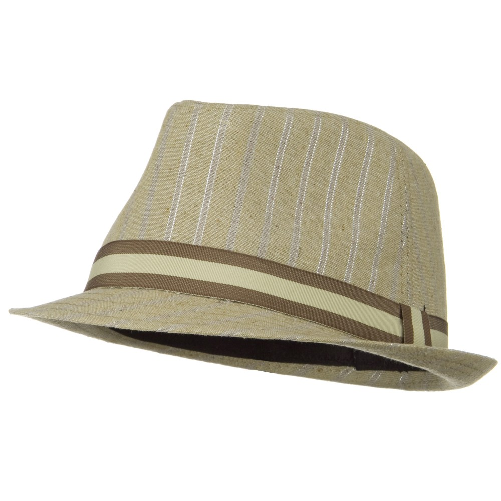 Sparkled Stripe Fedora with Trim - Beige - Hats and Caps Online Shop - Hip Head Gear