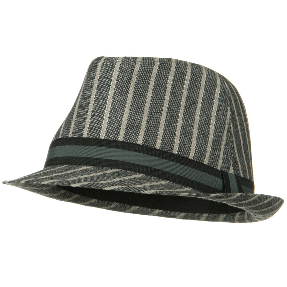 Sparkled Stripe Fedora with Trim - Grey - Hats and Caps Online Shop - Hip Head Gear