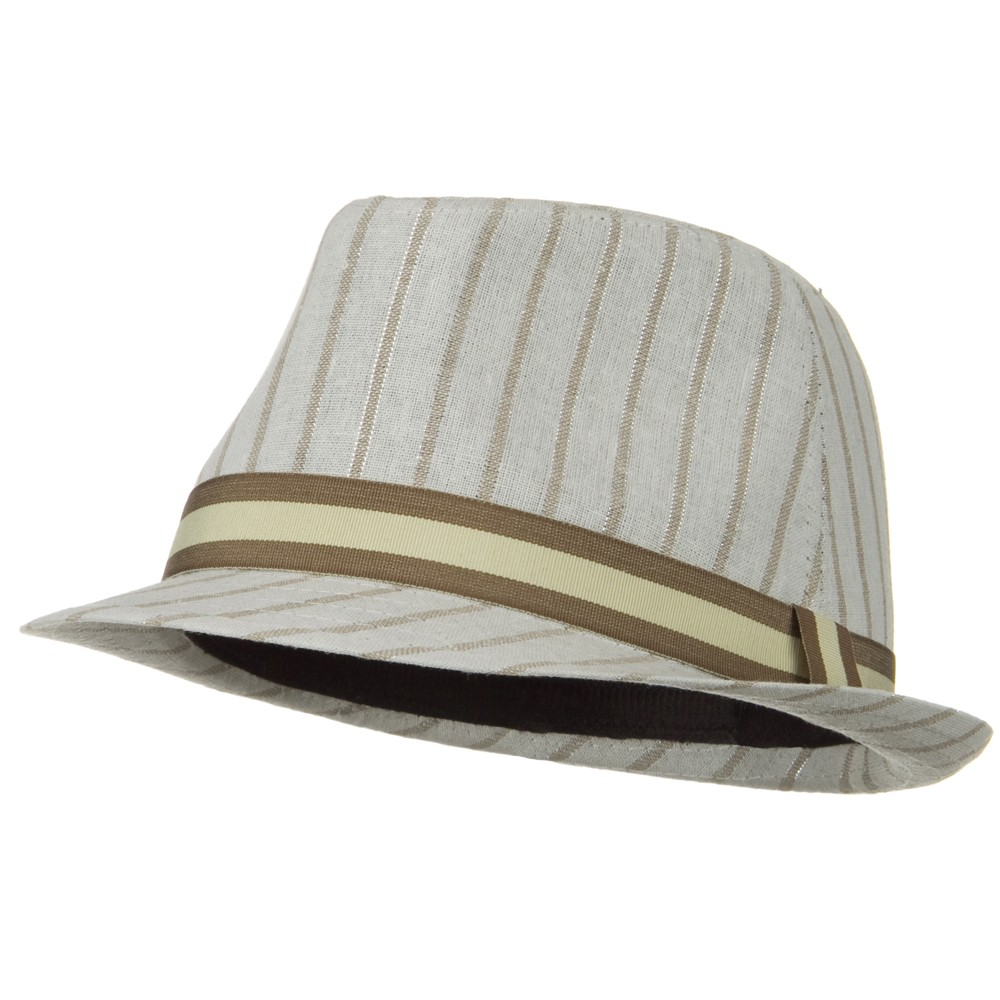 Sparkled Stripe Fedora with Trim - Ivory - Hats and Caps Online Shop - Hip Head Gear