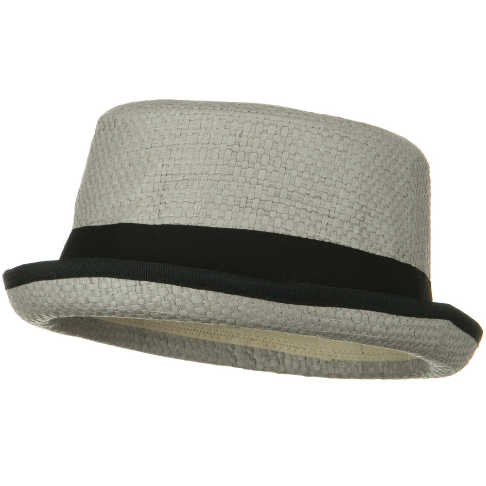 Trim Straw Turnup Brim Fedora Hat - Light Grey - Hats and Caps Online Shop - Hip Head Gear