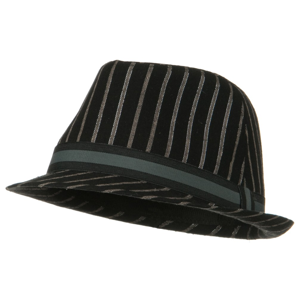 Sparkled Stripe Fedora with Trim - Black - Hats and Caps Online Shop - Hip Head Gear