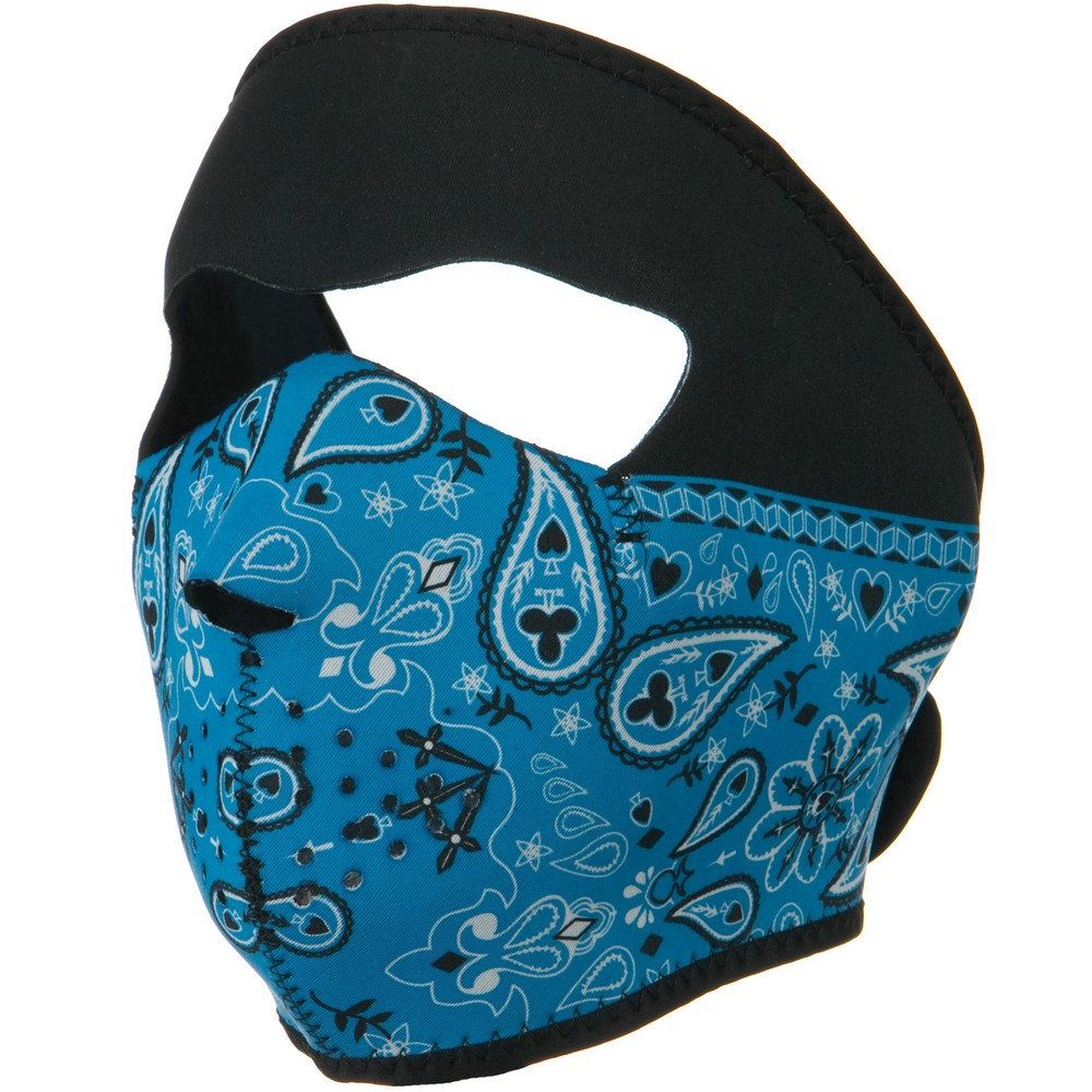 Neoprene Full Face Mask - Blue Paisley - Hats and Caps Online Shop - Hip Head Gear