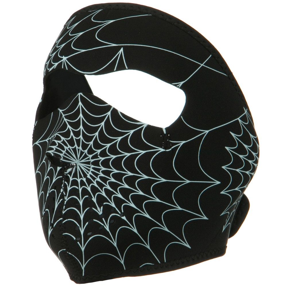 Neoprene Full Face Glow Mask - Glow Spider Web - Hats and Caps Online Shop - Hip Head Gear