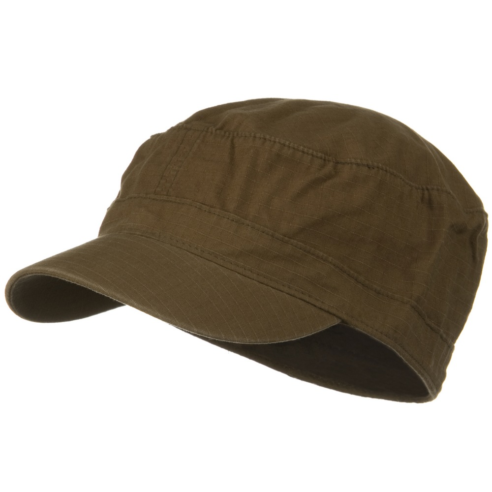 Fitted Cotton Ripstop Army Cap-Brown - Hats and Caps Online Shop - Hip Head Gear