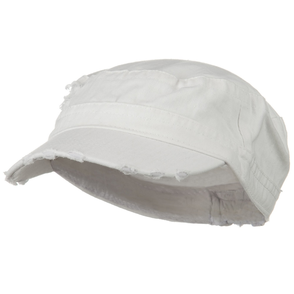 Cotton Herringbone Army Cap-White - Hats and Caps Online Shop - Hip Head Gear