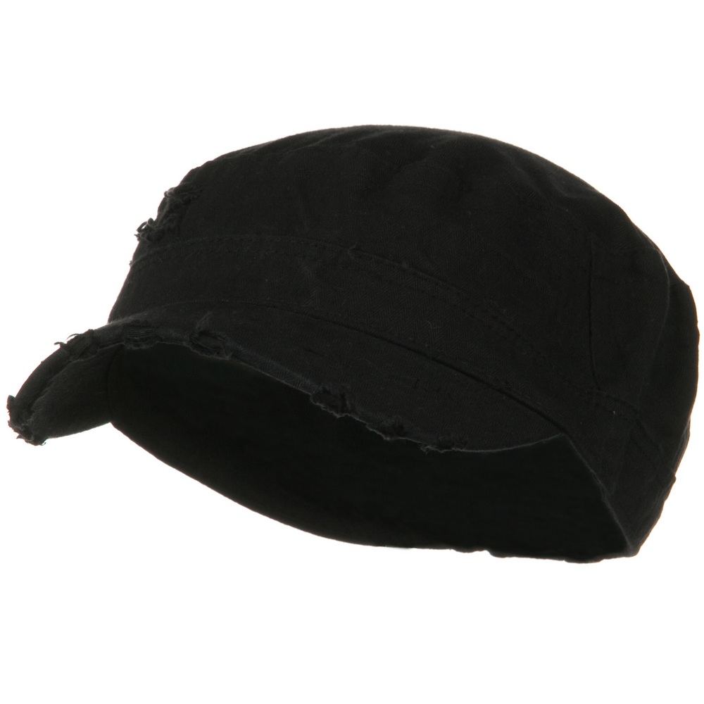 Cotton Herringbone Army Cap-Black - Hats and Caps Online Shop - Hip Head Gear