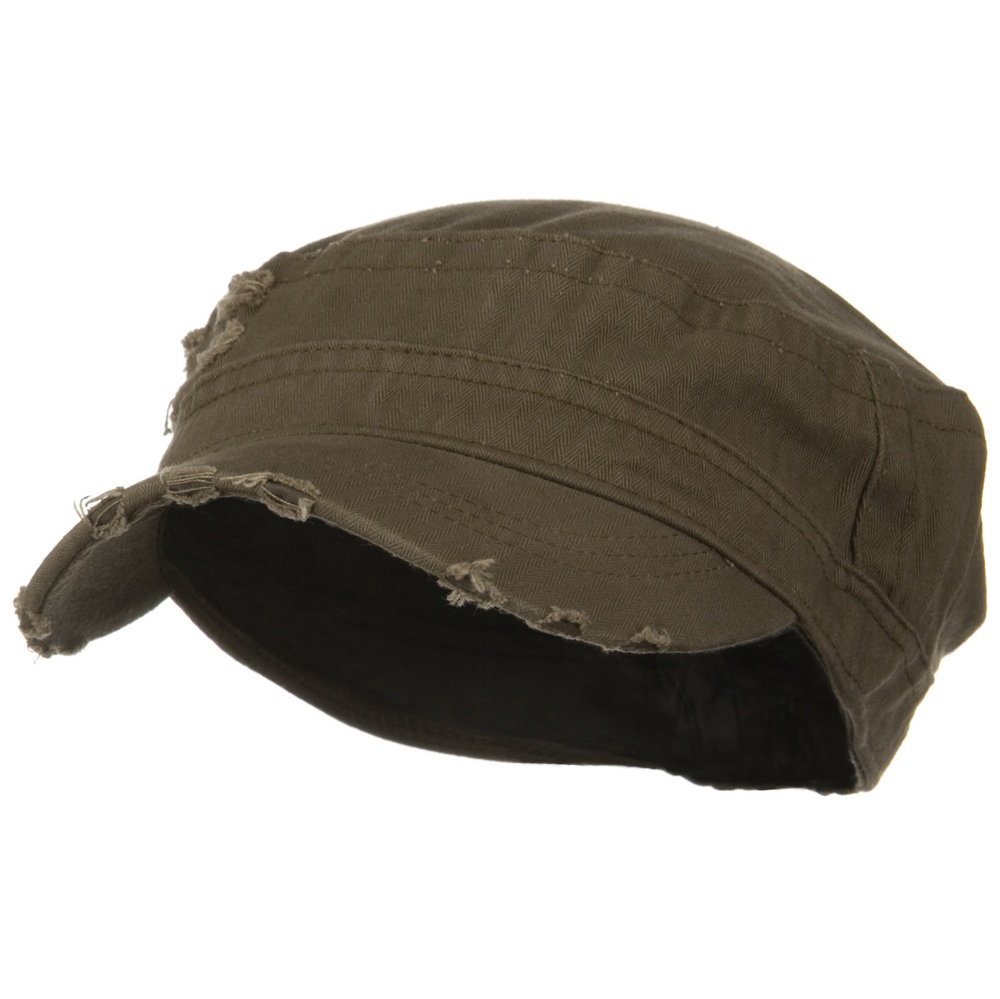 Cotton Herringbone Army Cap-Brown - Hats and Caps Online Shop - Hip Head Gear
