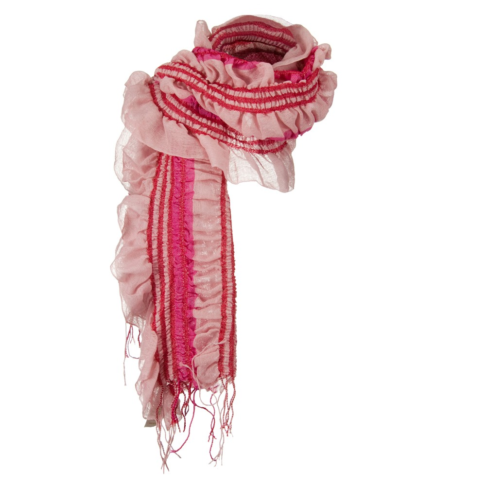 Ribbed Stripe Acrylic Scarf - Pink