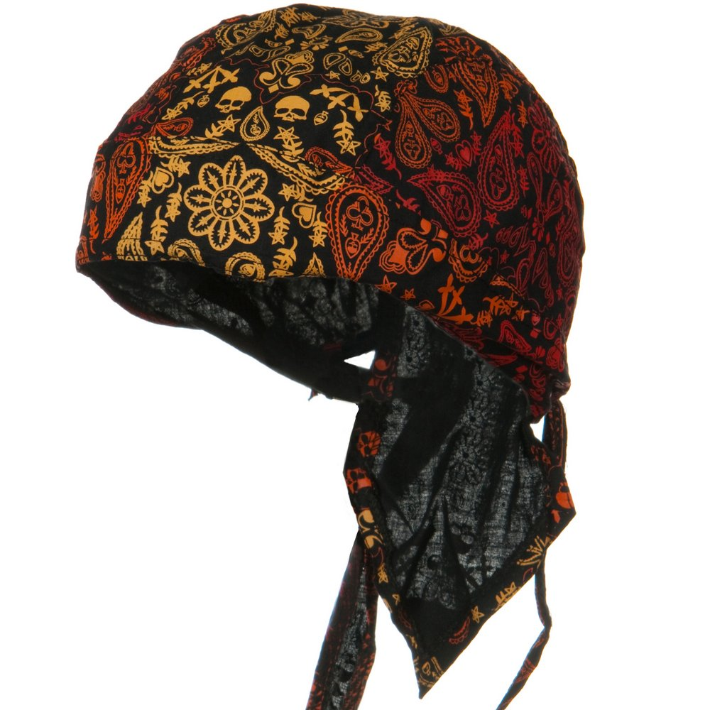 Print Series Headwrap-Fire Skull Paisley - Hats and Caps Online Shop - Hip Head Gear