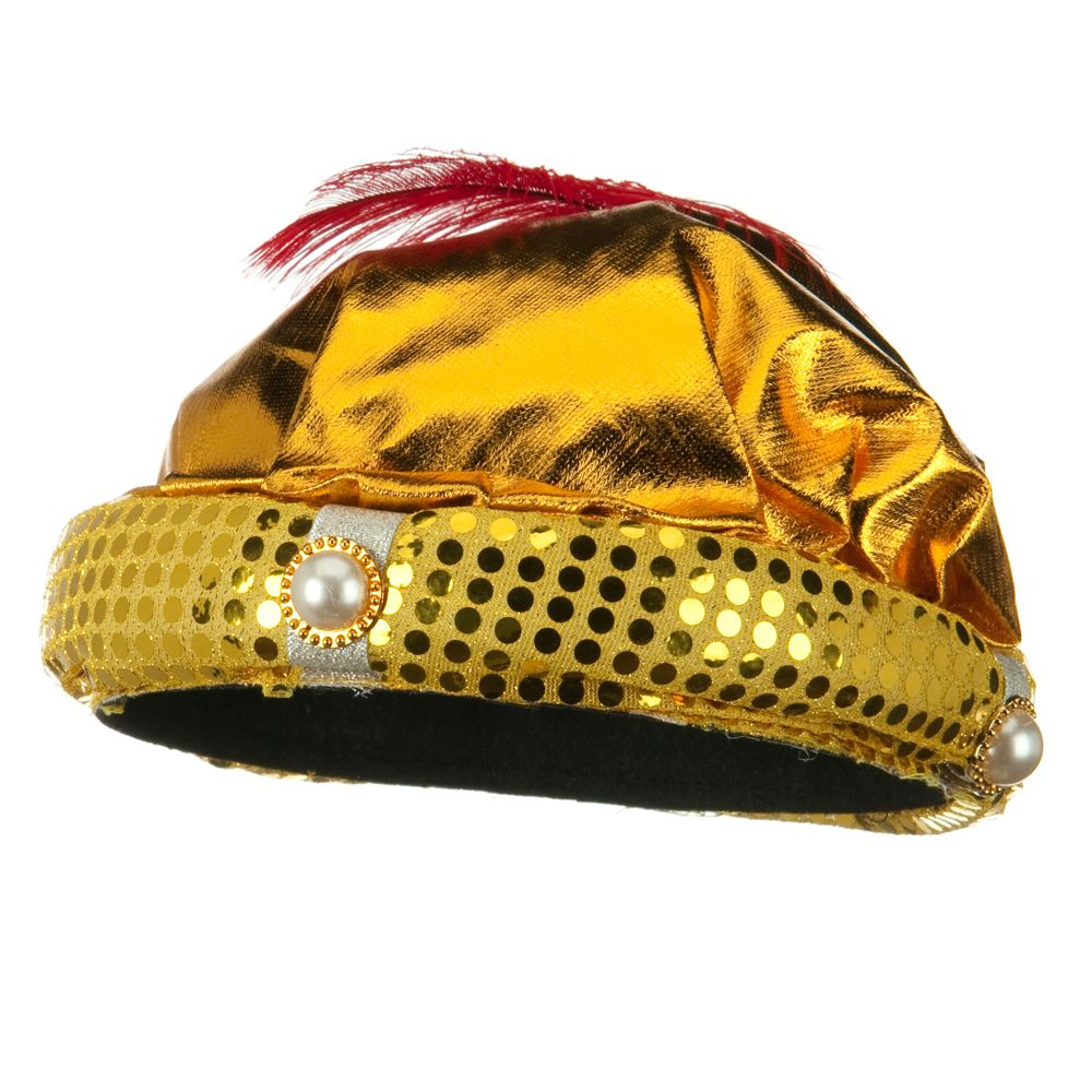 Head Piece with Plume -Gold Red