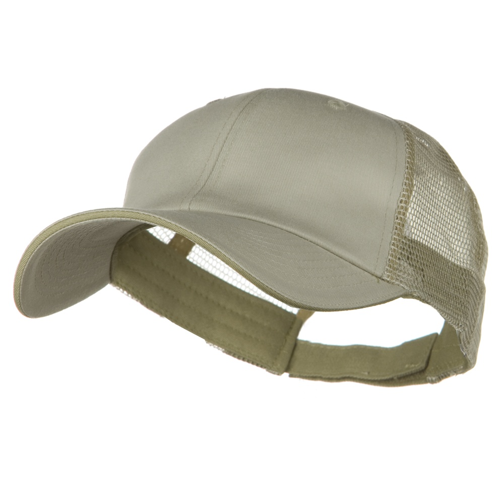 Big Size Garment Washed Cotton Twill Mesh Cap - Putty Beige
