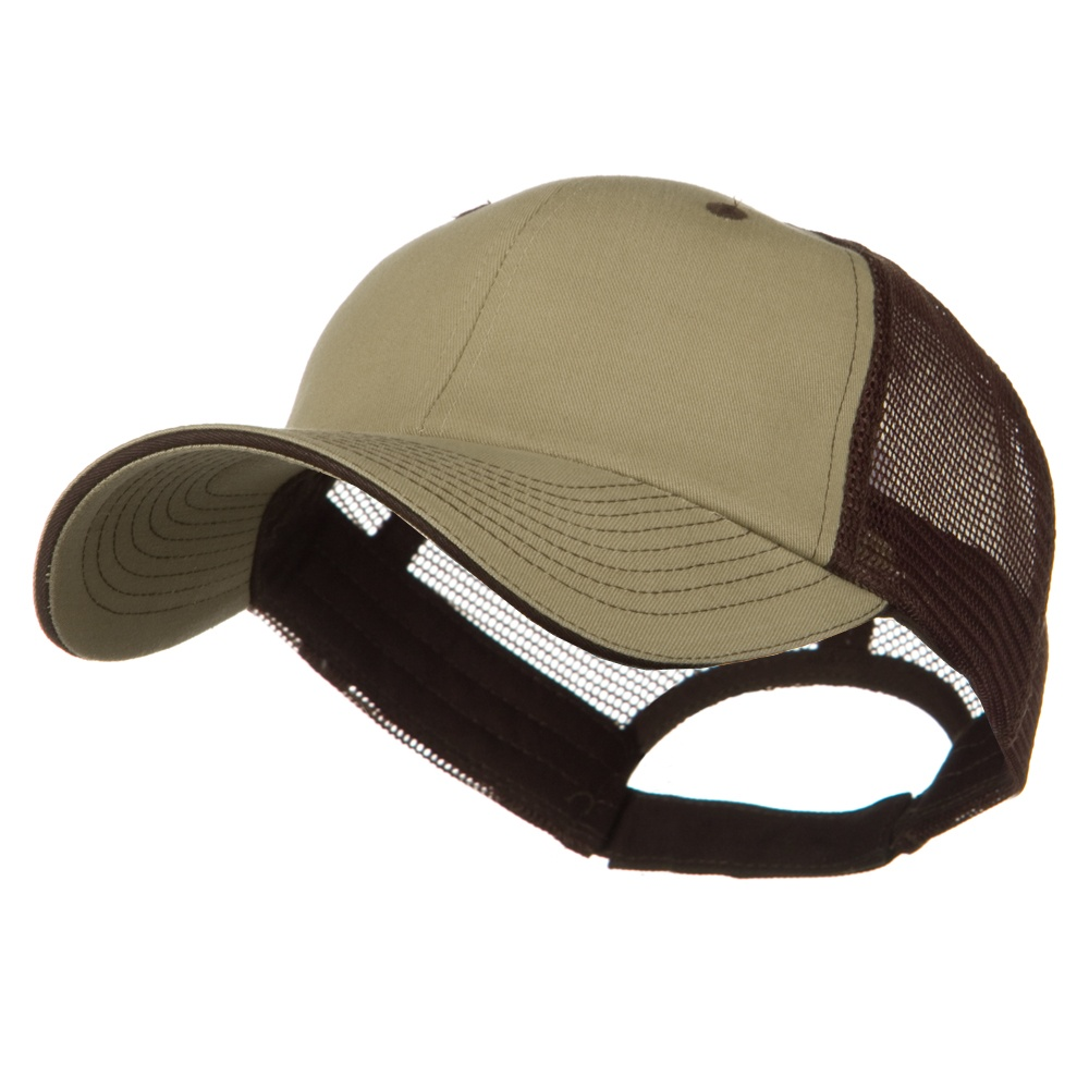 Big Size Garment Washed Cotton Twill Mesh Cap - Khaki Brown - Hats and Caps Online Shop - Hip Head Gear