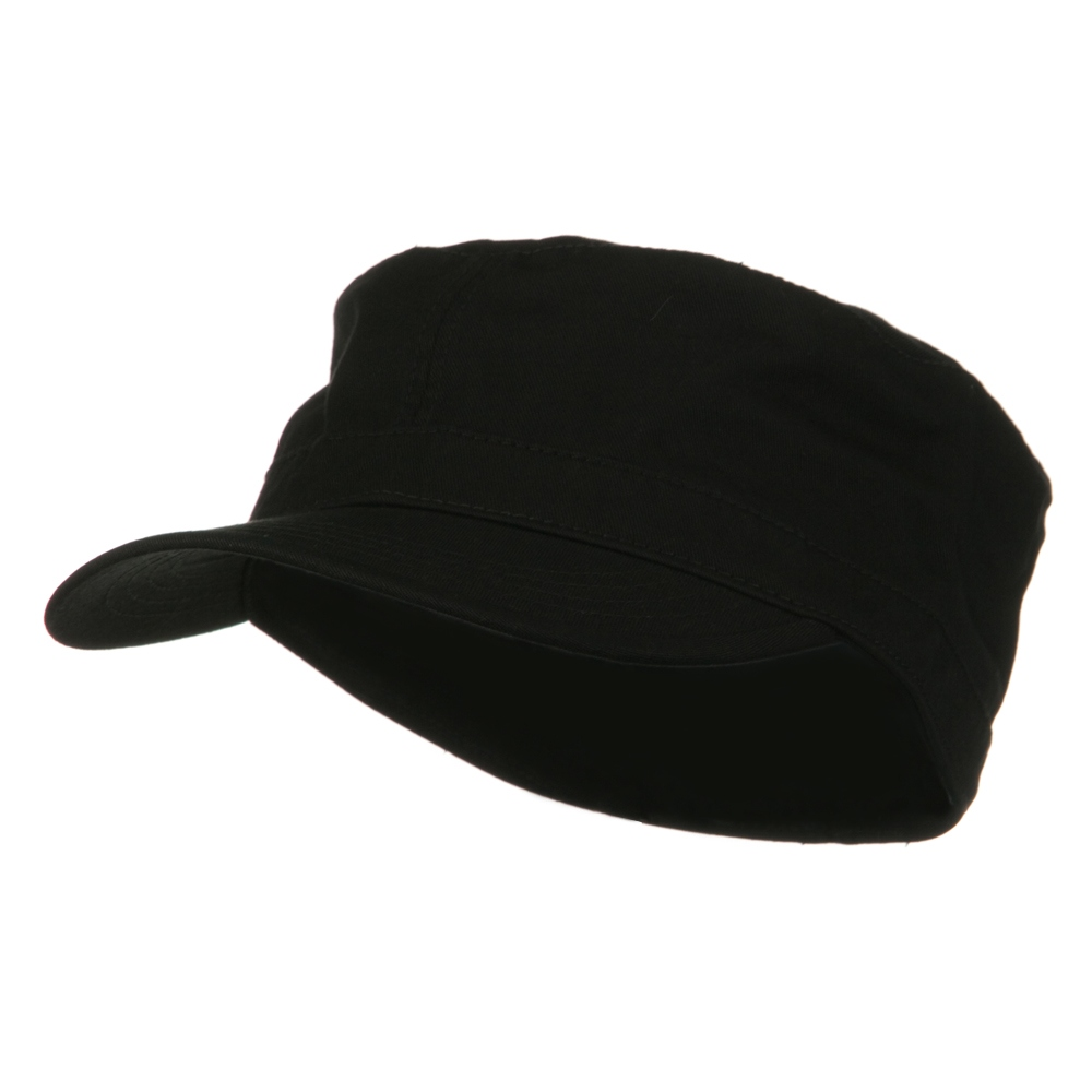 Big Size Cotton Fitted Military Cap - Black - Hats and Caps Online Shop - Hip Head Gear
