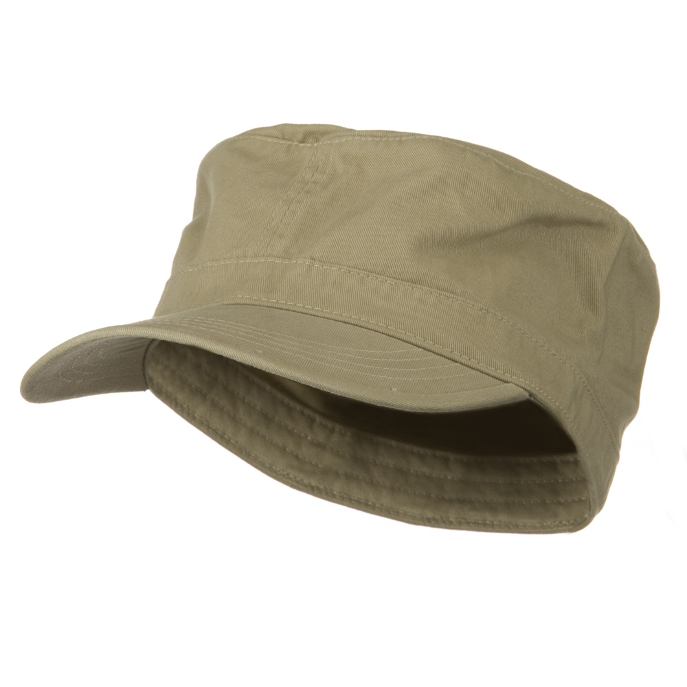 Big Size Cotton Fitted Military Cap - Khaki - Hats and Caps Online Shop - Hip Head Gear
