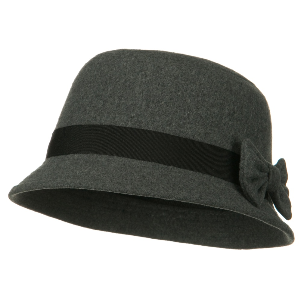 Wool Felt Cloche Hat with Band and Bow - Grey - Hats and Caps Online Shop - Hip Head Gear