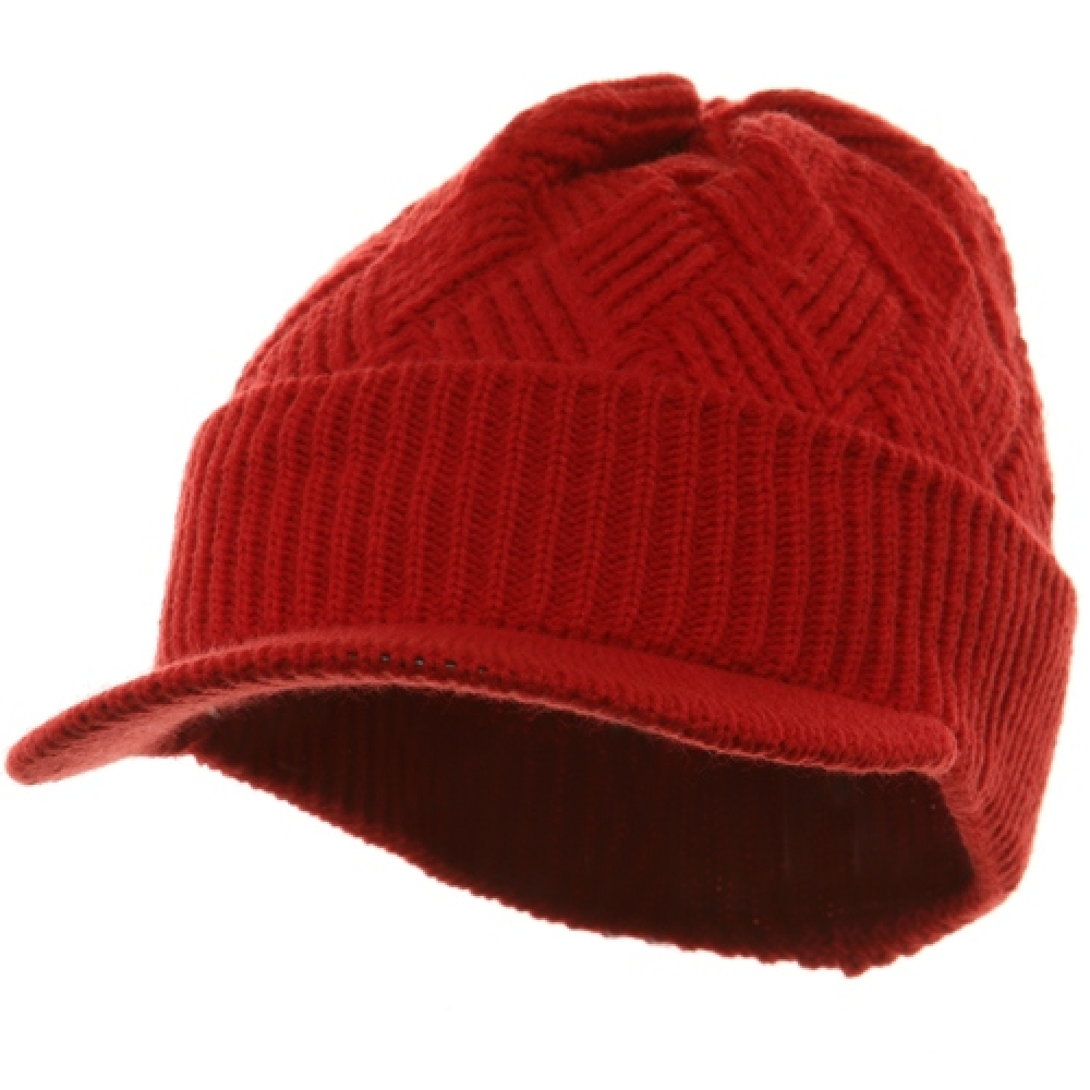Acrylic Plain Beanie Visor-Red - Hats and Caps Online Shop - Hip Head Gear