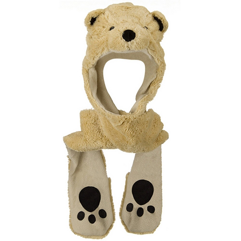 ML Animal Costume Hat with Mittens - Bear Khaki - Hats and Caps Online Shop - Hip Head Gear