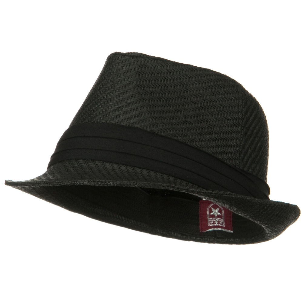 Child Straw Fedora Hat - Black Black - Hats and Caps Online Shop - Hip Head Gear