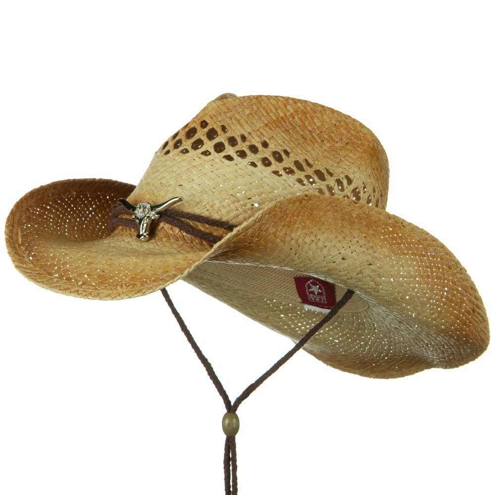 String Band Raffia Cowboy Straw Hat - Cow Natural - Hats and Caps Online Shop - Hip Head Gear