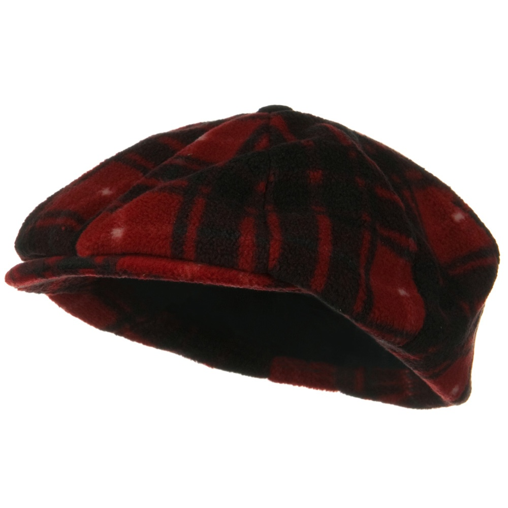 Fleece Winter Newsboy Hat - Red Plaid