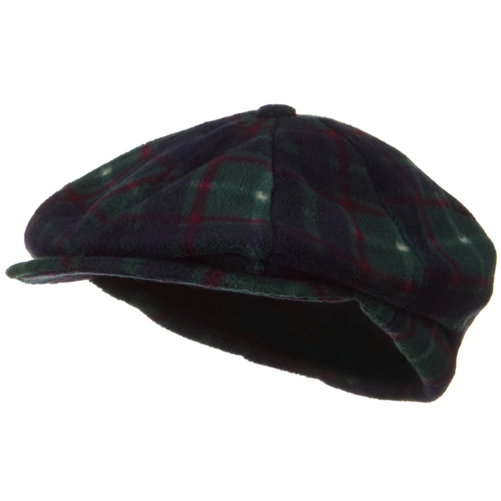 Fleece Winter Newsboy Hat - Green Plaid