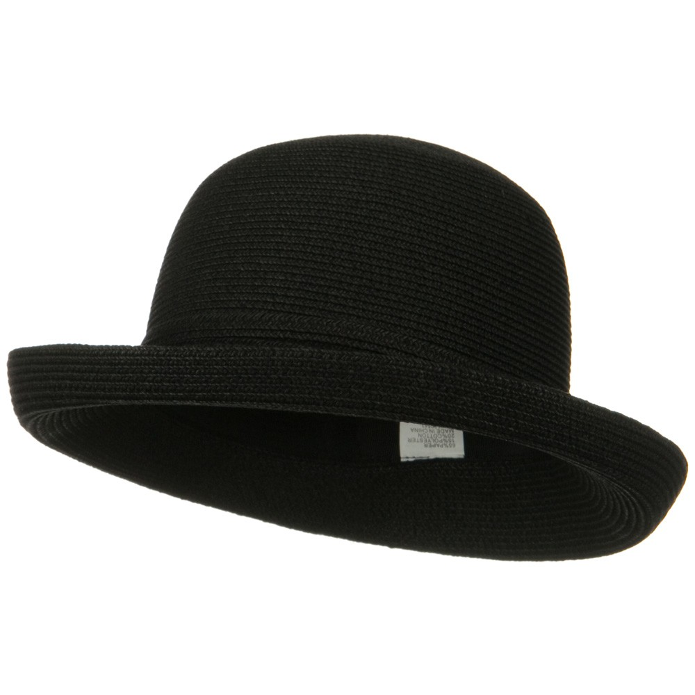 UPF 50+ Cotton Paper Braid Med Kettle Brim Hat - Black - Hats and Caps Online Shop - Hip Head Gear