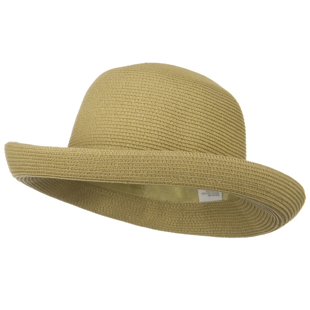 UPF 50+ Cotton Paper Braid Med Kettle Brim Hat - Tan - Hats and Caps Online Shop - Hip Head Gear