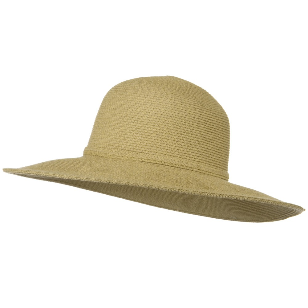 UPF 50+ Cotton Paper Braid 4 Inch Flat Brim Hat - Tan - Hats and Caps Online Shop - Hip Head Gear