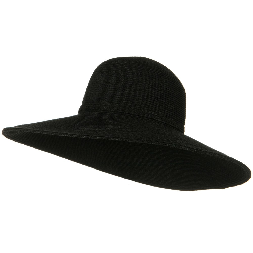 UPF 50+ Cotton Paper Braid 5 inch Brim Self Tie Hat - Black