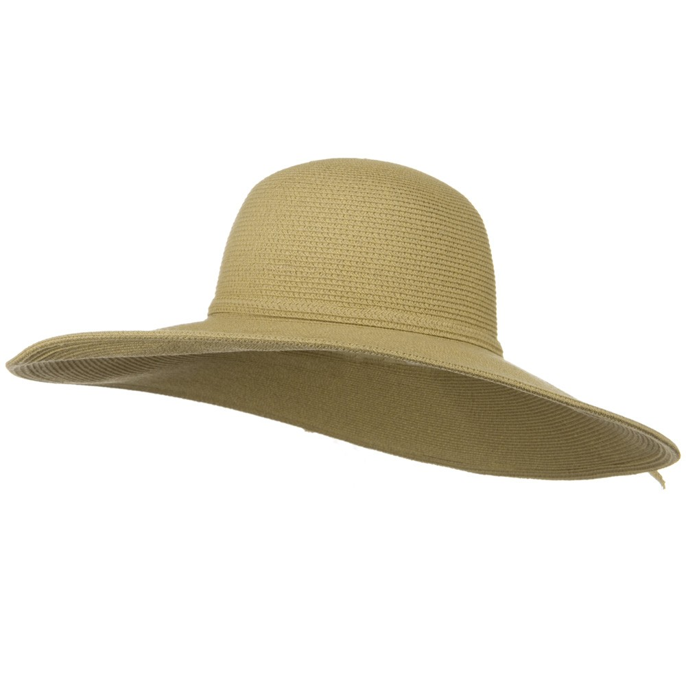 UPF 50+ Cotton Paper Braid 5 inch Brim Self Tie Hat - Tan