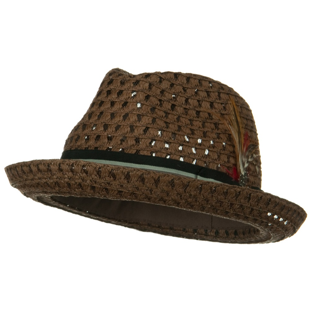 Open Weave Pattern Men's Fedora - Brown - Hats and Caps Online Shop - Hip Head Gear